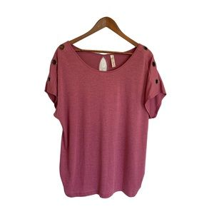 PERSEPTION Women's Ruched Short Sleeve Top 1X